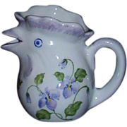 Bird Creamer ~ White Porcelain with Pretty Purple Violets
