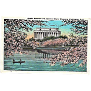 1927 Lincoln Memorial Washington, DC ~ Japanese Cherry Blossoms