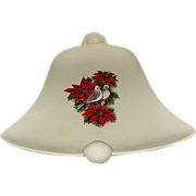 Bell Shaped Holiday Serving Dish, Poinsettias and Doves