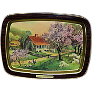 Currier and Ives Metal Tray, American Homestead in Spring