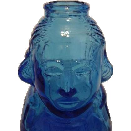 Wheaton Glass Blue George Washington Collector Bottle