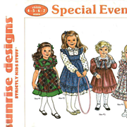 1988 Girls Special Events Dress Collection Pattern by Sunrise Designs UNCUT