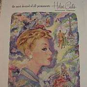 Vintage HELENE CURTIS Professional Hair Perm Ad ~ June 1952 Woman's Home Companion