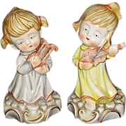 Porcelain Angelic Girl Figurines Playing Musical Instruments ~ Beautiful!