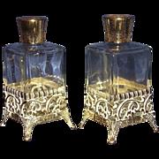 Vanity Perfume Bottles Gold-Tone Filigree Metal Overlay Base Matching Pair
