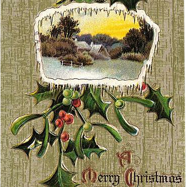 1900s Christmas Embossed Post Card Snowy Cottage Scene
