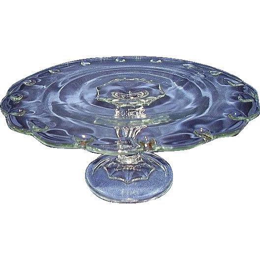 Indiana Glass Teardrop Pattern Cake Stand Scalloped Edge
