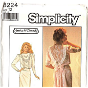 Simplicity #8224 Jessica McClintock Lovely Tucked Bodice Dress with Back Flounces~Size 12  ~UNCUT 1987