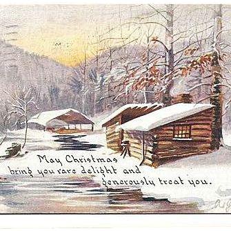 1917 Christmas Postcard Owen Card Snowy Log Cabin Scene
