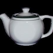Reading Restaurant Ware Individual Tea Pot White Green Trim
