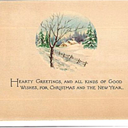 1918 Christmas & New Year Post Card ~ Gibson Art Co~ Snowy Cottage Scene