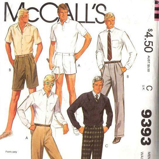 1985 McCall's Men's Pants & Shorts Pattern 9393 Waist Size 36