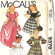 1984 McCall's Girls' Puffy Sleeve Dress and Drawstring Purse UNCUT Pattern 9370 Size12