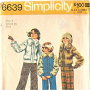 1974 Simplicity Girls' Jacket and Bell-Bottom Pants UNCUT Pattern 6639 Size 7