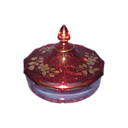 Cranberry Glass Gold Trim 3-Section Covered Candy Dish