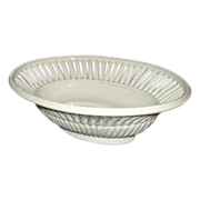 Reticulated Milk Glass All White Oval Centerpiece Fruit Bowl