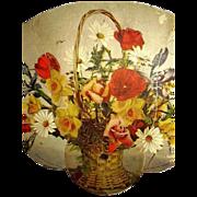 Advertising Fan U.O. Colson Litho Wicker Basket Spring Flower Bouquet 1928