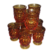 Indiana Glass Whitehall Amber Footed Juice Glasses, Set of 8