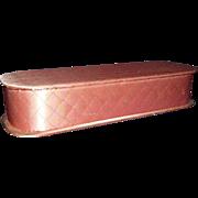 Glove Box Pink Quilted Satin 1950-60s Vanity Storage Box