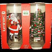 Santa Claus, Christmas Tree and Santa in Sleigh with Reindeer Beverage Glasses Set of 4 MIB Luminarc 1992