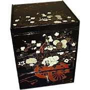 Black Jewelry Box Mirrored Lid with 3 Drawer Chest Made in Japan