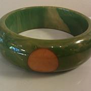 large Chunky Green with Yellow 4 dot Bakelite bangle bracelet