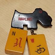 RARE Bakelite Mah Jongg/Dog Pin MAHLOWE