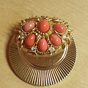 BOUCHER pleated faux coral and rhinestone brooch