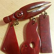 RARE Bakelite Figural Architect's Tools Brooch