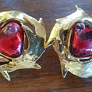 Yves San Laurent YSL gripoix couture earrings