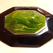 Black and green bakelite laminated geometric Victorian  style  brooch pin