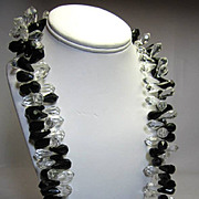 MIRIAM HASKELL clear acrylic and black long necklace