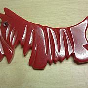 RED Bakelite Scotty Dog Pin