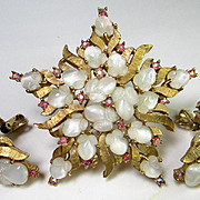 TRIFARI Fruit Salad white moonstone and pink  Pin/Earrings Set