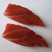 Pair Transparent Rust Heavy carved dress clips (2)