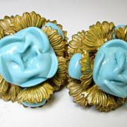 Miriam Haskell Large Aqua Glass Clip Earrings Signed Originals