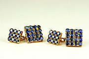 Estate Gold and Sapphire Cufflinks, French