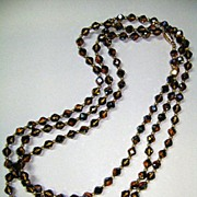 VINTAGE Champagne Colored 48 inch Flapper Glass Beads