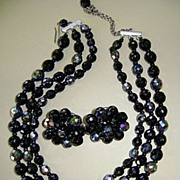 VINTAGE Black Glass Three Strand Necklace with Large Earrings