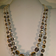 VINTAGE Reflective Glass Beaded Necklace Illusions Professionally Restrung