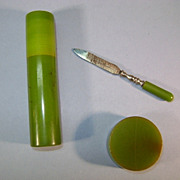 VINTAGE Green Spinach Bakelite 3 pieces Pencil Sharpener, Manicure file and Holder