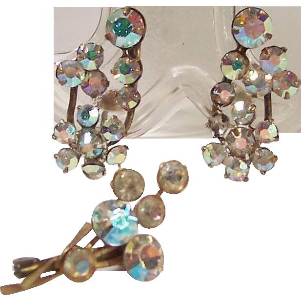 Austrian Aurora Borealis Earrings & Pin