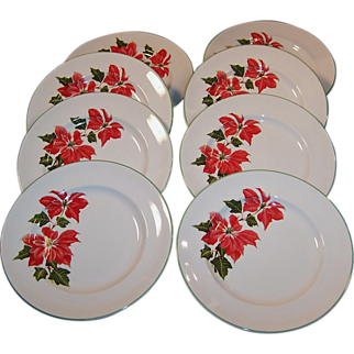 """Set of FOUR: Cuthbertson Poinsettia 8"""" Luncheon (or Salad) Plates (Only 1 Set Available Now)"""