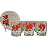 Sets of FOUR: Cuthbertson Poinsettia Double Old Fashioned Tumblers (2 Sets Available)