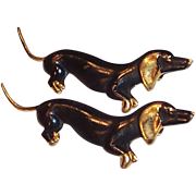 "Set of 2:  Vintage Dachshund Scatter Pins -- Older ""C"" Clasp"