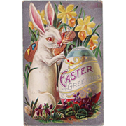 Antique Embossed Easter Artist Rabbit Decorating Egg