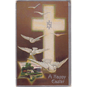 Antique Winsch Type Back Happy Easter Postcard: Cross, Christogram & Doves