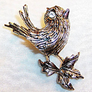 Signed ART: Two Tone Bird on Bough Pin