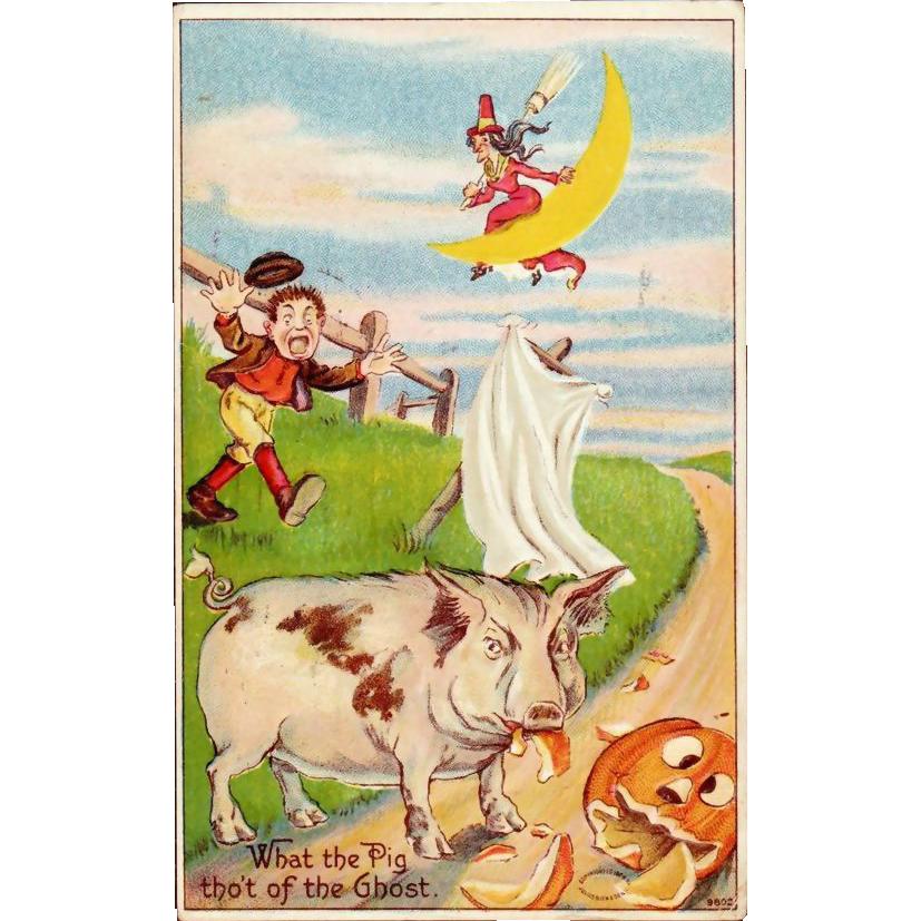 Antique Julius Bien Halloween Postcard 980 Series; No. 9802