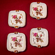 Set of 4: Moss Rose Individual Ashtrays